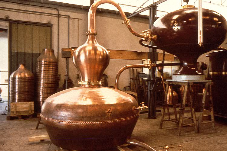 A pot still used to distill Cognac