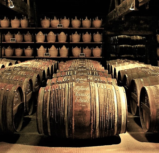 Cognac ageing in oak barrels in the Hennessy cellars