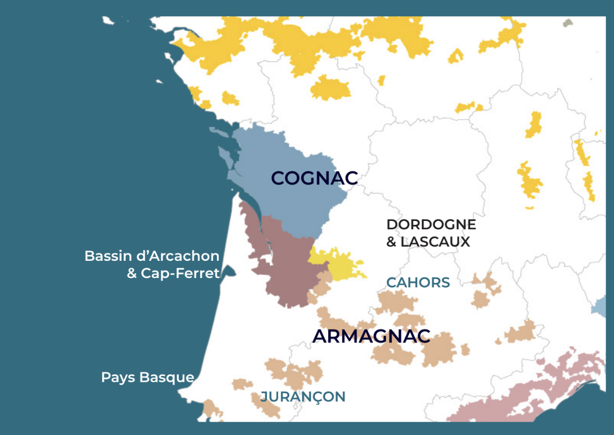 Map of wine growing areas around Bordeaux in South Western France