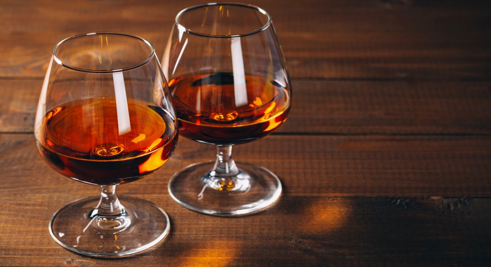 Two glasses of cognac ready to be tasted